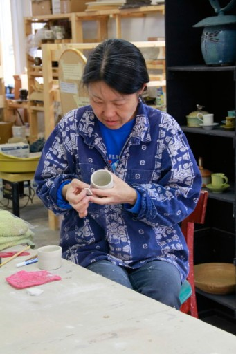 My wonderful, patient and inspiring teacher, Miyako working on a piece of porcelain.